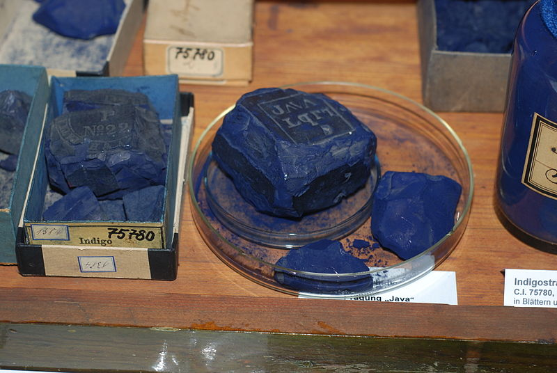 """""""Indigo, historical dye collection of the Technical University of Dresden, Germany"""" by Shisha-Tom is licensed under CC BY 3.0"""